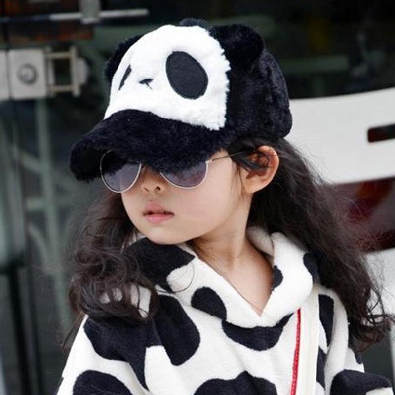 儿童熊猫帽子秋冬毛绒帽可爱