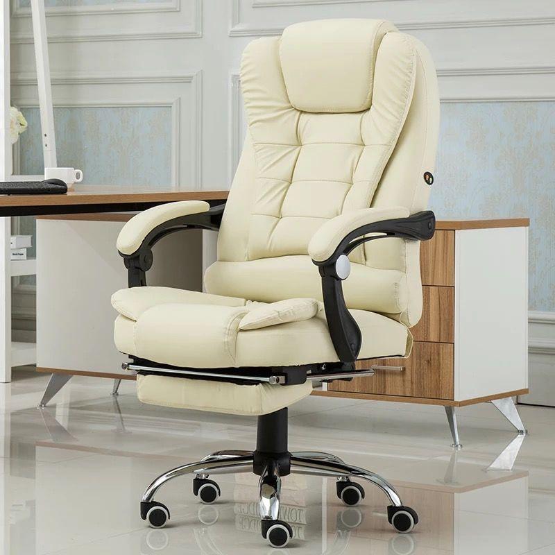 弗臣电脑椅家用办▲公椅子可躺老板椅升降转椅按摩搁脚真皮午休椅凳