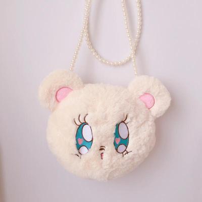 taobao agent Soft cute and cute plush bear shoulder bag lolita man show girl soft sister pearl bear head embroidery messenger bag