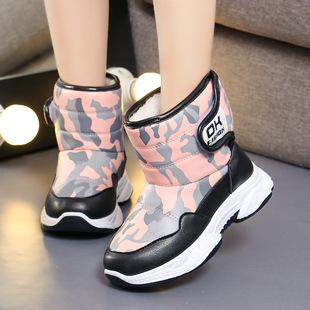 2019新款雪地靴防滑女童靴子新款男童冬季加绒中筒棉靴?#28010;?#20445;暖鞋