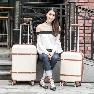 Retro xe đẩy trường hợp vali bánh xe phổ hành lý hành lý hộp 20 22 24 inch nội trú nữ sinh viên Hàn Quốc phiên bản