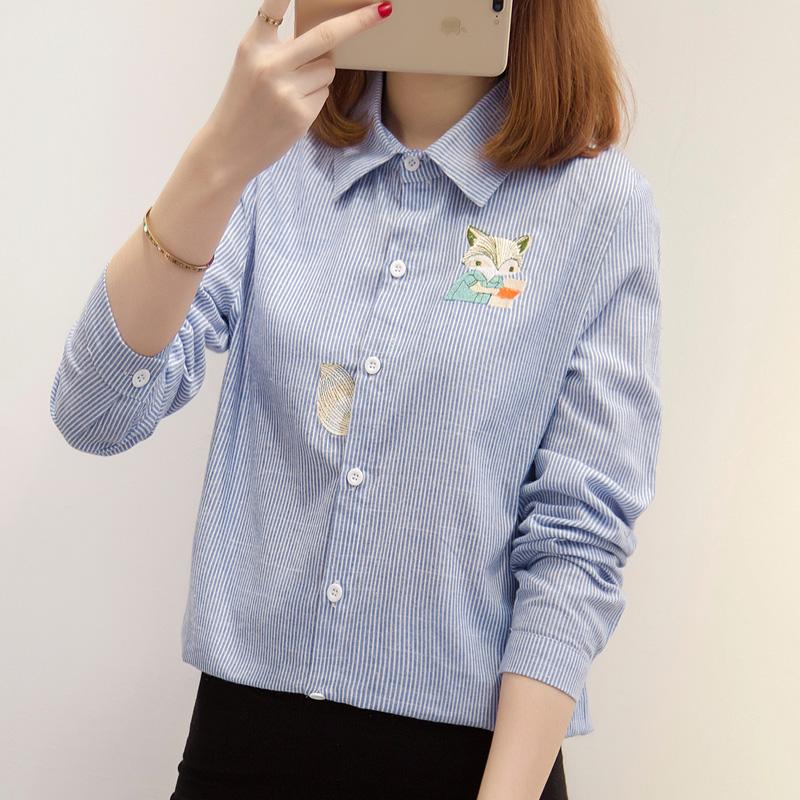 5067#实拍2019春装新款衬衣女刺绣印花卡通可爱长袖衬衫女学生