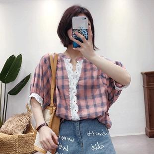 格子衬衫女短袖T恤2019夏新款韩版宽松显瘦纯棉娃娃衫上衣打底衫