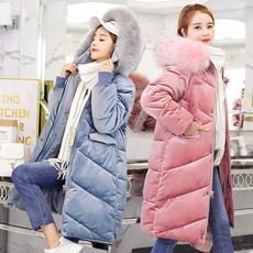 实拍2018冬季新款韩版加厚宽松大码羽绒服中长款棉衣金丝绒棉服女