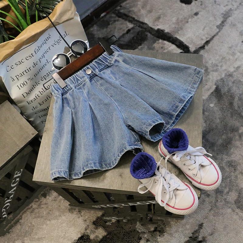2018 mùa hè mới cô gái 'quần áo, hoang dã, ba chiều cắt, rộng chân quần short denim, quần nóng, váy xếp li