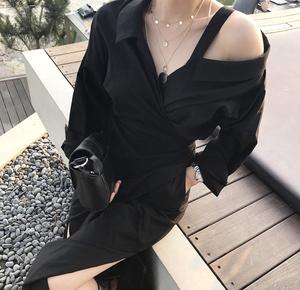 早春推荐!韩国 chic #2110 露肩系带长款衬衫裙连衣裙女