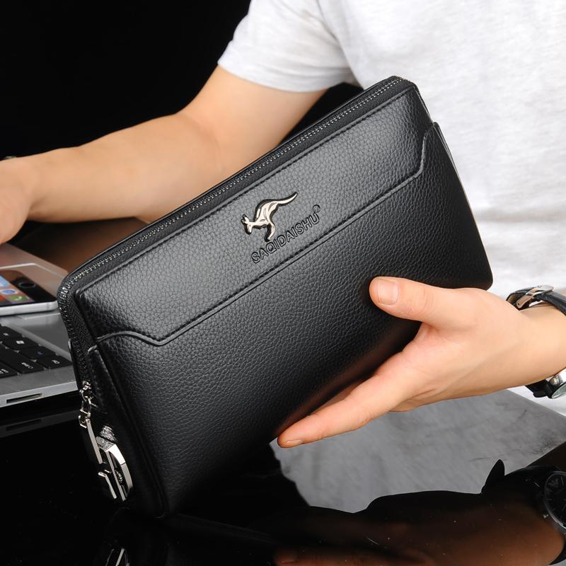 防盗密码锁手拿包男士大容量个性真皮手包手提包时尚潮手抓包男潮
