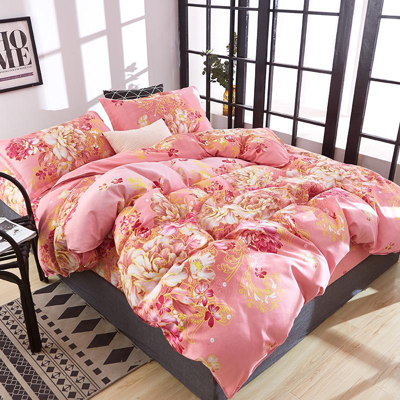 清仓床上全棉纯棉加厚保暖磨毛床单被套斜纹1.8m宿舍网红四件套女69
