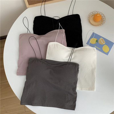 taobao agent White tube top underwear camisole women's outer wear short hot girl beauty straps with chest pads and wrap tops Xia Chao