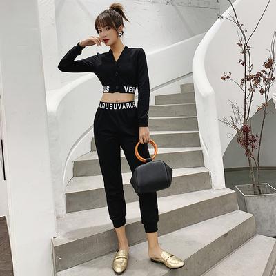 2018秋装性感v领单排扣字母上衣修身长裤休闲套装6253#