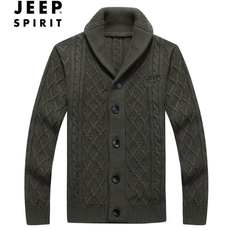 jeep thương hiệu nam hàng đầu mùa thu và mùa đông nam mới áo len cardigan đứng cổ áo jeep áo len dệt kim giản dị - Áo len