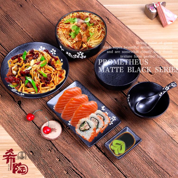 Matte matte đen gốm bát gạo tô phở bát bát sushi món ăn đũa thìa nhà hàng món ăn nhà câu lạc bộ ẩm thực Nhật Bản bộ đồ ăn