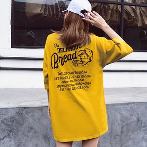 实拍 2018女新中长款后背字母印花短袖t恤女  6535棉