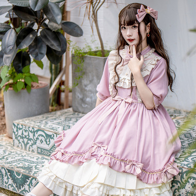 taobao agent Original authentic Lilian OP Lolita short-sleeved dark long daily lolita dress princess dress