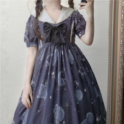 taobao agent Original design glass jellyfish print summer fresh and sweet navy collar short puff sleeve Lolita dress op