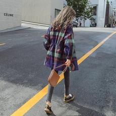 格子风衣女中长款韩版2018新款短款小个子薄款港风复古外套9620