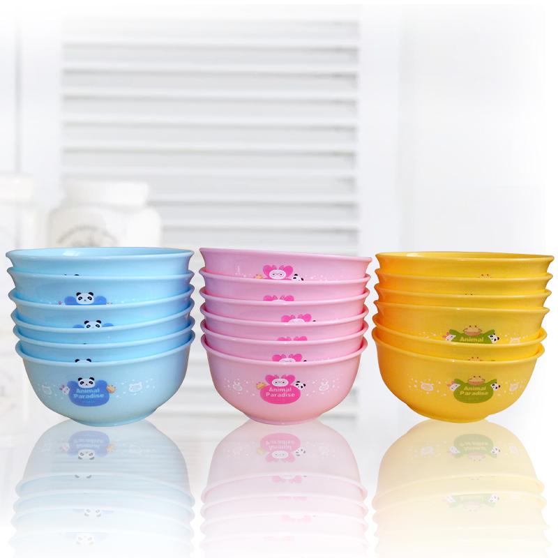 包邮中式食用级PP儿童塑料卡通色彩小碗饭碗面碗餐具防摔6件
