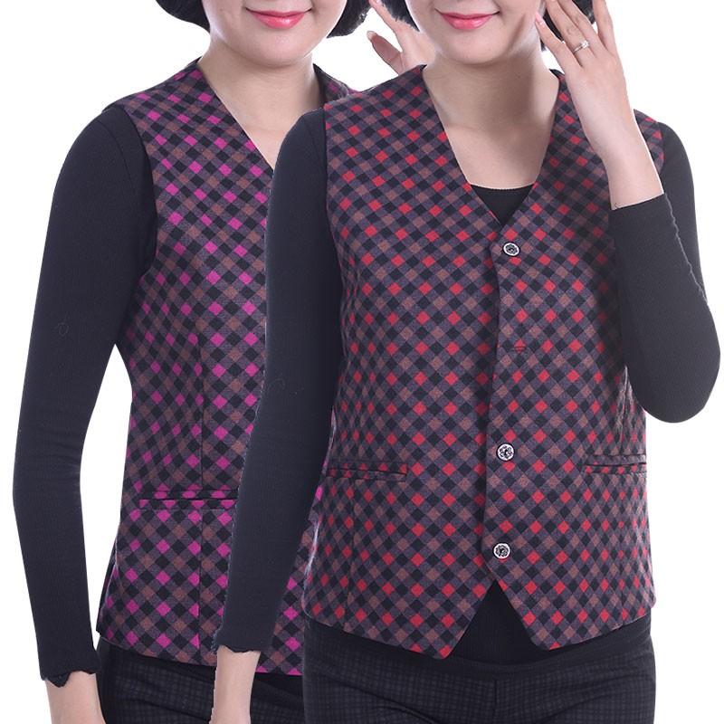 Trung niên phụ nữ mới vest lỏng kích thước lớn vest người già vest cardigan mùa xuân và mùa thu vest mẹ ăn mặc