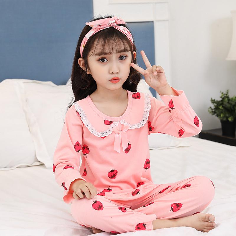 女童睡衣春秋季圆领套头纯棉薄款长袖可爱女孩夏季儿童家居服套装