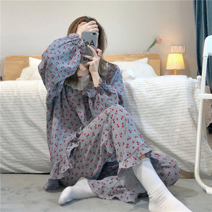 Pajamas women's autumn and winter new loose and sweet, age-reducing cherry print long-sleeved trousers, outer wear two-piece home service