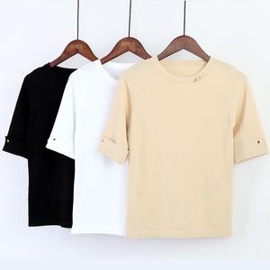 2017韩版修身百搭冰丝针织短袖T恤新款女装打底衫女圆领上衣春装