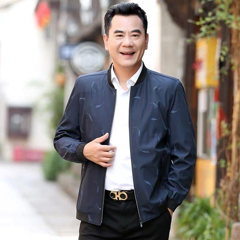 春秋季中年夹克薄款外套宽松高品质男装
