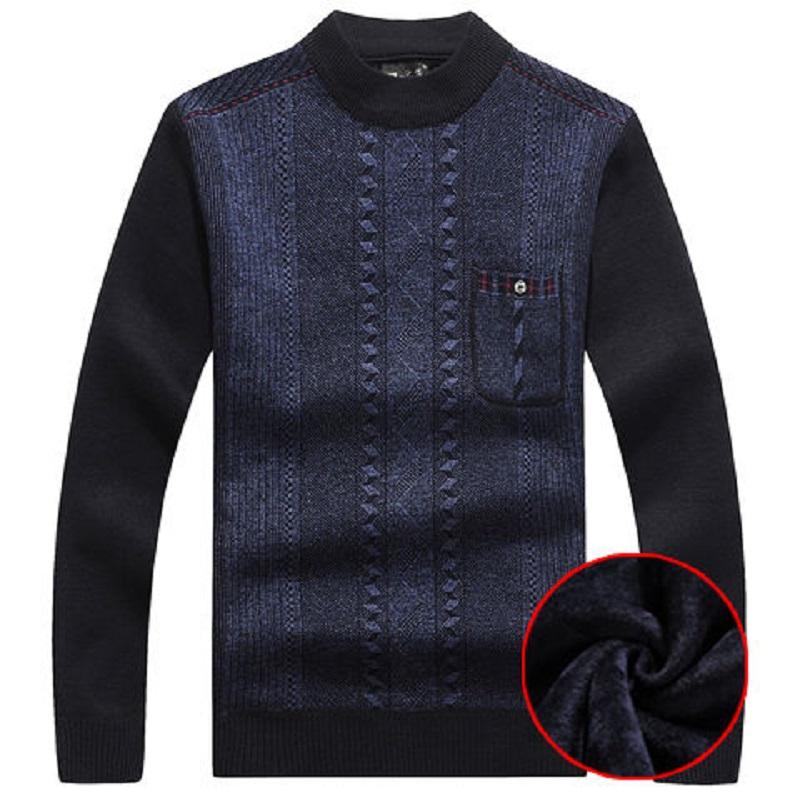 冬季中老年男士毛衣加绒加厚圆领长袖套头�畎职肿氨E�宽松针织衫