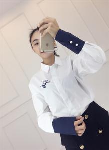 实拍现货韩版2017春款长袖英文刺绣袖口拼色休闲宽松BF风棉衬衫