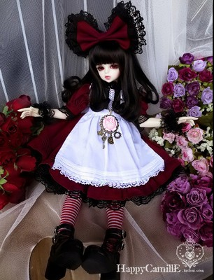 taobao agent BJD/SD 4 points doll clothes/dress, noble atmosphere maid lolita dress-burgundy 1/4, giant baby
