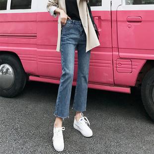 抖音新款chic高腰微喇牛仔裤