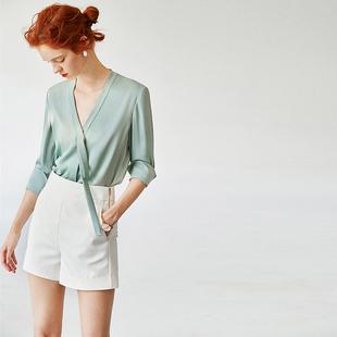 新色薄荷绿长袖V领重磅真丝飘带衬衫女宽松显瘦W20487现货+预定