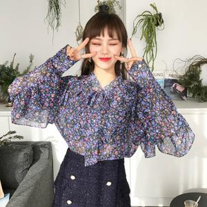 现货。韩国chic 复古甜美蝴蝶结系带荷叶边小碎花雪纺长袖衬衫女