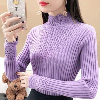 抖音潮流毛衣女套头半高领针织衫秋冬新款修身紧身百搭长袖打底衫