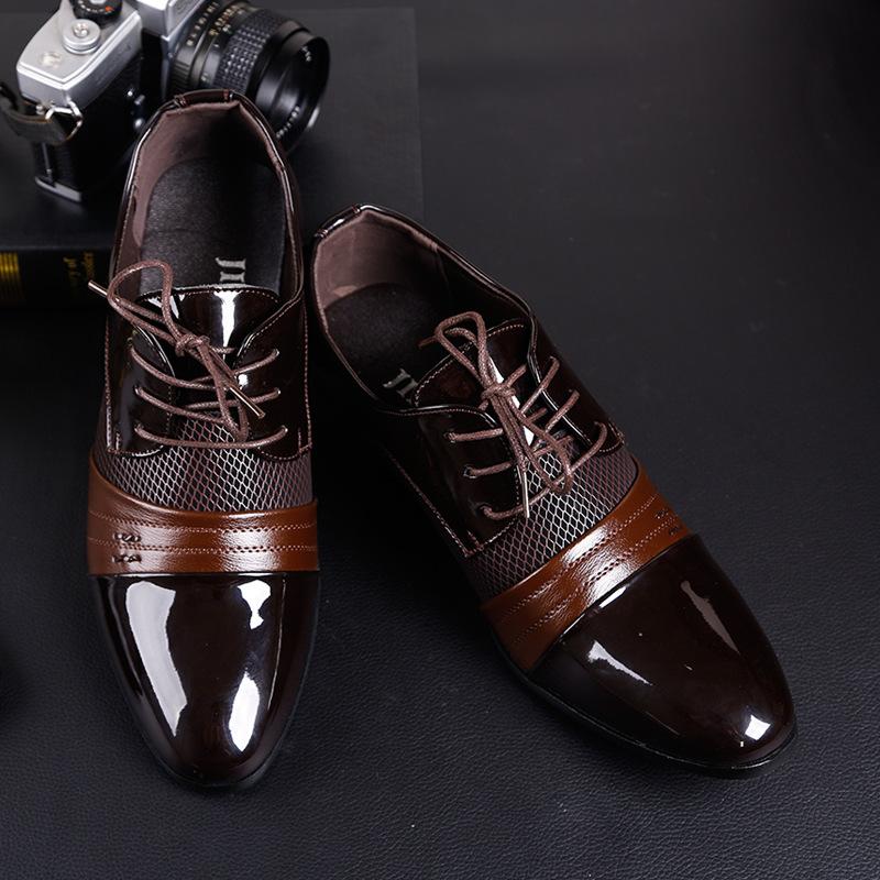 新款2019秋季皮鞋男士商务正装男鞋子系带尖头休闲鞋