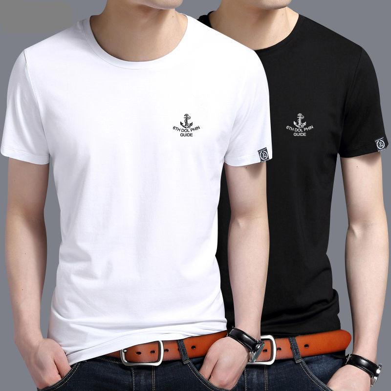 100%夏季纯棉男士短袖T恤圆领潮流宽松体恤半袖上衣男装新款短袖