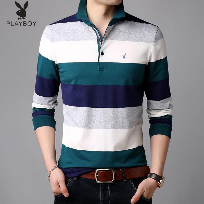 花花公子男士青年秋季长袖T恤加绒款保暖 韩版潮流潮牌上衣卫衣春