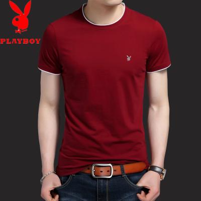 圆领纯色 修身 半载短袖 男装青年T恤衫 夏季男士 短袖t恤潮流 白色纯棉