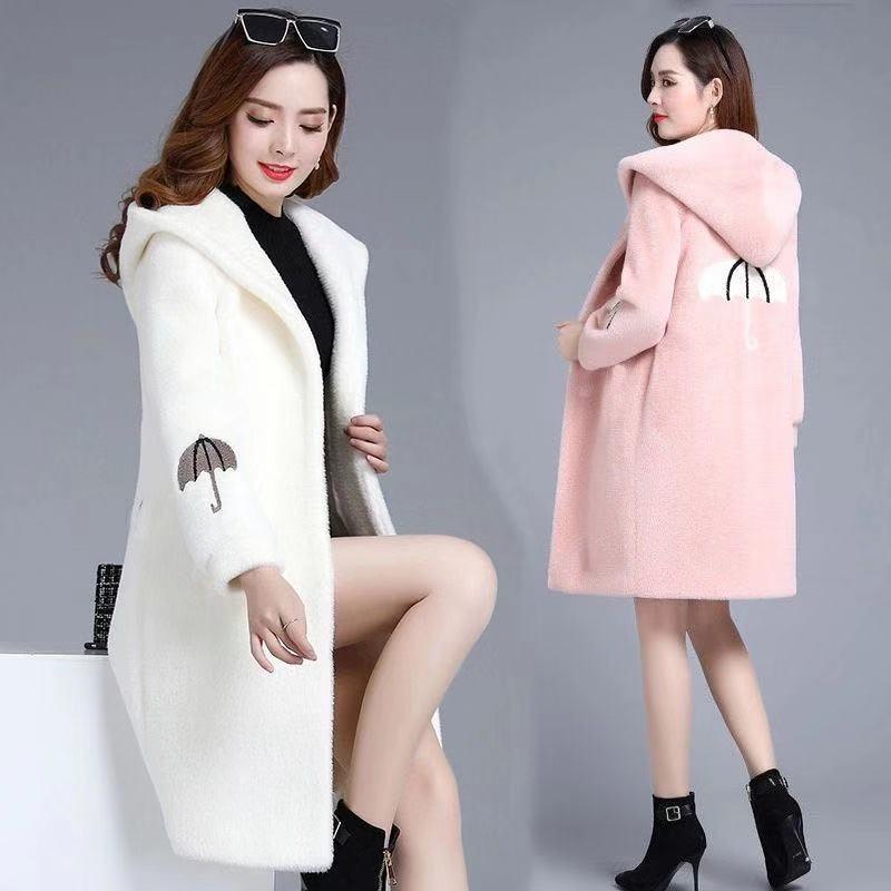 羊羔绒外套新款冬装毛呢一体羊羔毛外套