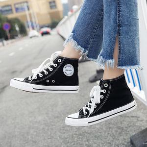 高帮帆布鞋女春夏鞋子女学生韩版休闲高帮鞋女情侣帆布鞋潮鞋百搭