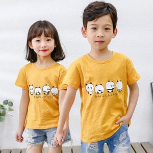 竹节棉男女童短袖纯棉儿童T恤