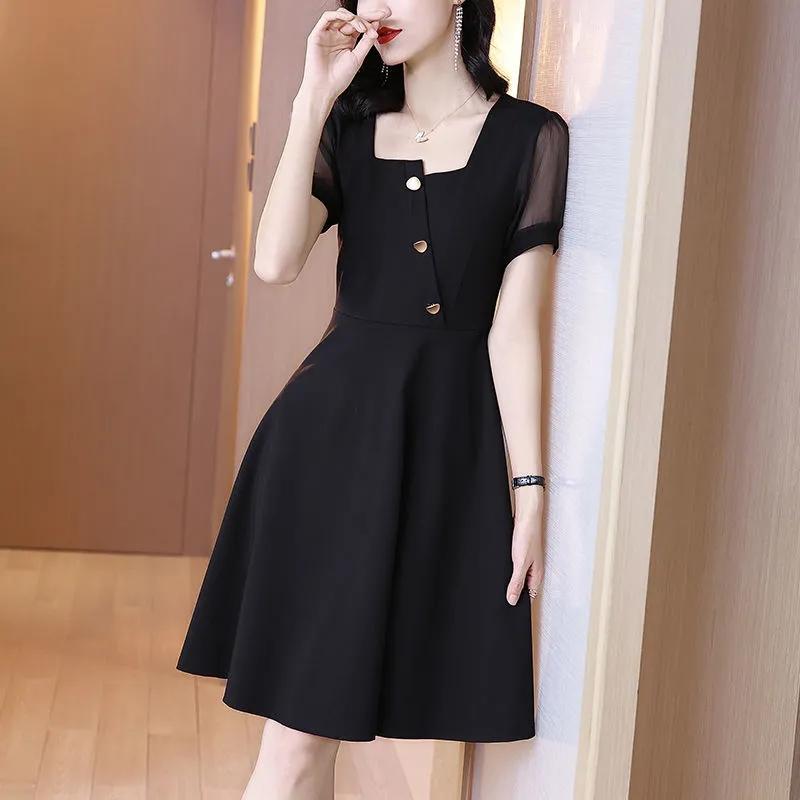 连衣裙女夏法式小个子2021新款方口领修身收腰气质黑色中长裙子女