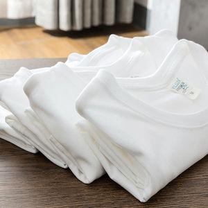 【两件装】日本纯白纯棉短袖打底衫T恤男女白色内搭t桖半袖厚体桖