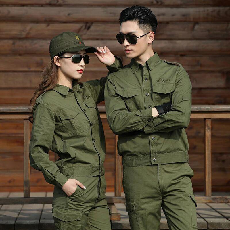 夏季棉線薄款軍綠色工作服套裝男女迷彩服焊工耐磨勞保服單件可選