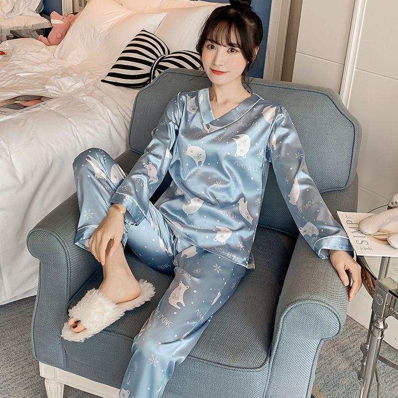 夏天韩版薄款冰丝性感仿真丝绸家居服套装