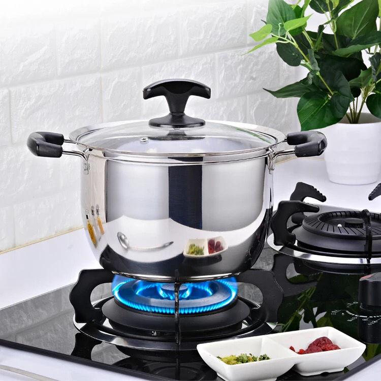 不锈钢汤锅双耳煮锅家用燃气电磁炉小锅煮粥锅具双耳汤锅