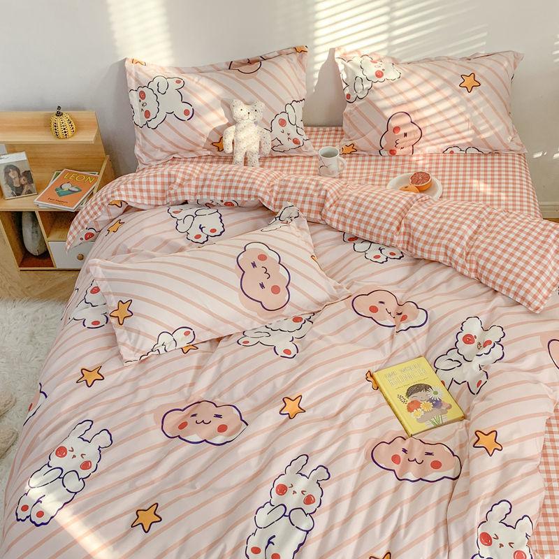 学生卡通公主风宿舍三件套床上用品四件套寝室单双人被套床单枕套