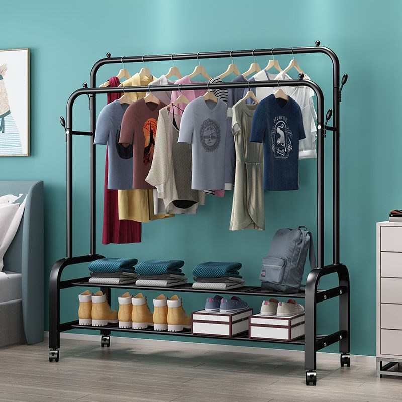 衣架落地卧室折叠晾衣架家用衣帽架阳台挂衣架室内简易双杆晾衣杆