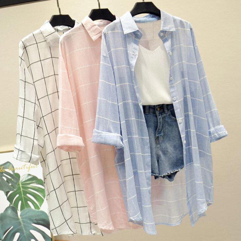 蓝色格子衬衫女防晒衣女学生韩版宽松百搭中长款夏季防晒衬衣外套
