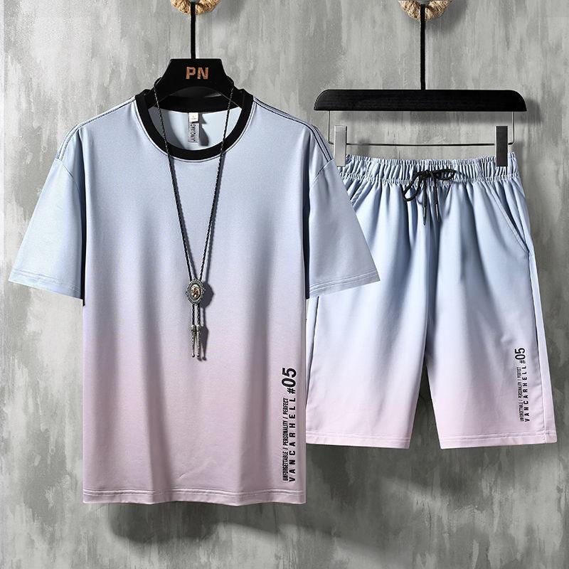 男士夏季冰丝短袖短裤套装半袖大裤衩两件套