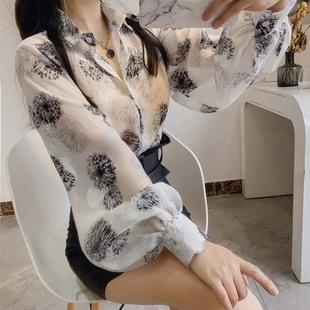 新款女灯笼袖衬衣仙夏翻领复古雪纺碎花